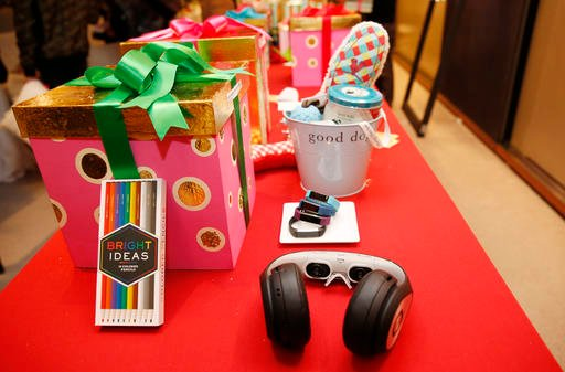 "Holiday gift items chosen by Oprah Winfrey for the 2016 Christmas giving season are displayed at ""O,The Oprah Magazine,"" Tuesday, Nov. 1, 2016."