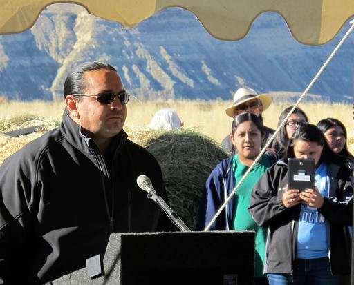 Jason Baldes, coordinator of the buffalo restoration effort for the Eastern Shoshone Tribe, addresses a crowd south of Pilot Butte, Wyo., on the Wind River Indian Reservation Thursday, Nov. 3, 2016.