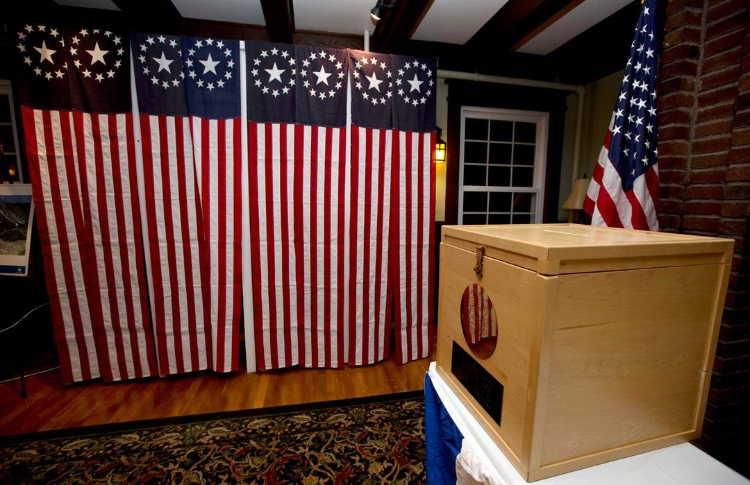 A ballot box is set Monday Nov. 7, 2016, for residents in Dixville Notch, N.H., to vote at midnight. (AP Photo/Jim Cole)