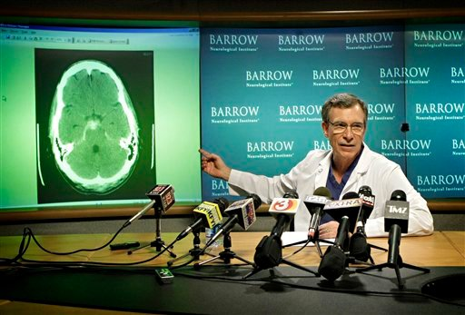 Dr. Joseph Zabramski shows a slide of singer Bret Michaels' brain at a news conference Tuesday, May 4, 2010 at the Barrow Neurological Institute at St. Joseph's Hospital and Medical Center in Phoenix.