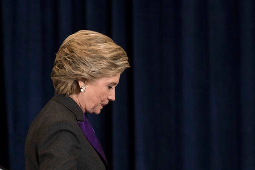 Democratic presidential candidate Hillary Clinton walks off the stage after speaking in New York, Wednesday, Nov. 9, 2016.