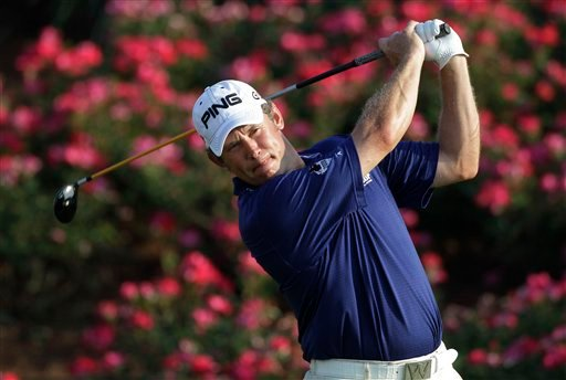 Lee Westwood, of England, hits from the 18th tee during the third round of The Players Championship golf tournament, Saturday, May 8, 2010, in Ponte Vedra Beach, Fla. Westwood finished the round in the lead at 14-under par. (AP Photo/Rob Carr)