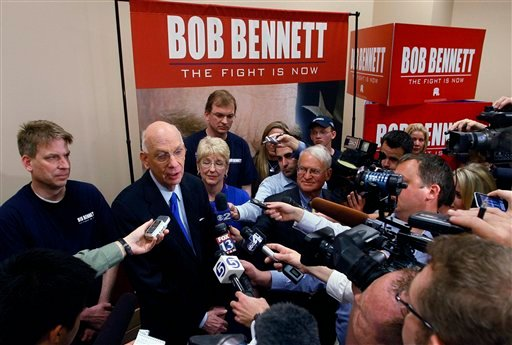 U.S. Senator Bob Bennett, R-Utah, thanks his volunteers and family after being voted out of office by delegates at the 2010 Utah GOP Convention Saturday, May 8, 2010 in Salt Lake City. (AP Photo/Steve C. Wilson)