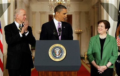 President Barack Obama introduces Solicitor General Elena Kagan as his choice for Supreme Court Justice in the East Room of the White House in Washington, Monday May 10, 2010 as Vice President Joe Biden applaudes. (AP Photo/J. Scott Applewhite)