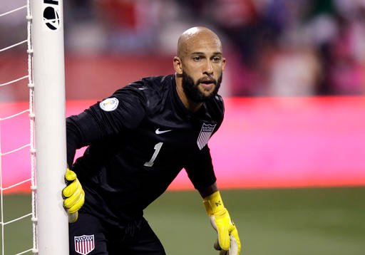 In this Sept. 10, 2013, file photo, United States' Tim Howard plays against Mexico in a World Cup qualifying soccer match in Columbus, Ohio.