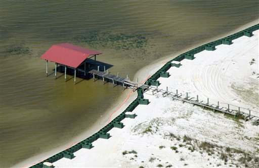 A wall constructed to protect the northern shore of Dauphin Island, Ala., from the Gulf of Mexico oil spill is shown in this aerial photograph taken Monday, May 10, 2010.  (AP Photo/Jay Reeves)