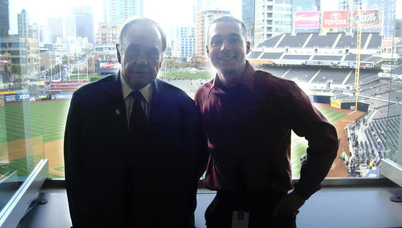 Padres play-by-play announcer Dick Enberg and Darren Feeney