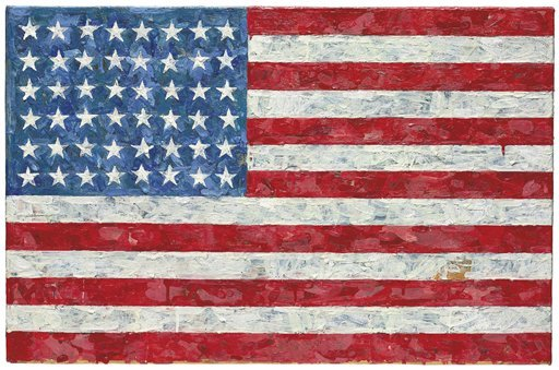 """This undated file photo provided by Christie's auction house shows Jasper Johns' """"Flag,"""" a pop art rendition of the American flag created in the 1960s that author Michael Crichton bought from the artist in 1973."""