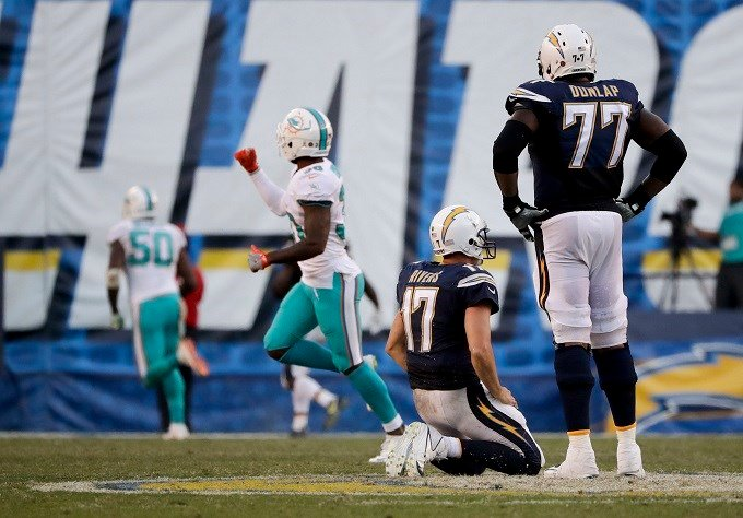 Miami Dolphins wide receiver DeVante Parker catches pass over San Diego Chargers strong safety Adrian Phillips during the second half of an NFL football game in San Diego, Sunday, Nov. 13, 2016. (AP Photo/Gregory Bull)