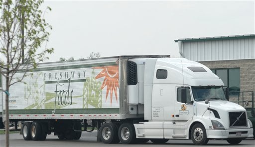 Freshway Foods truck is photographed in Sidney, Ohio, Friday, May, 7, 2010. Federal investigators are looking at a farm in Yuma, Ariz., as a possible source of a widespread E. coli outbreak in romaine lettuce, according to the distributor.