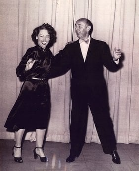 FILE - In photo released by the University of Oklahoma, Doris Eaton dances with Aurthur Murray in the Detroit Studios in this 1939 file photo.