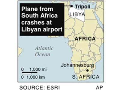 Map shows Tripoli in Libya, where a Libyan plane from Johannesburg crashed.