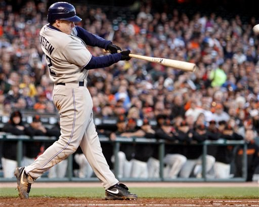 San Diego Padres' David Eckstein connects for a two run double off San Francisco Giants' Barry Zito during the second inning of a baseball game Tuesday, May 11, 2010, in San Francisco. (AP Photo/Ben Margot)
