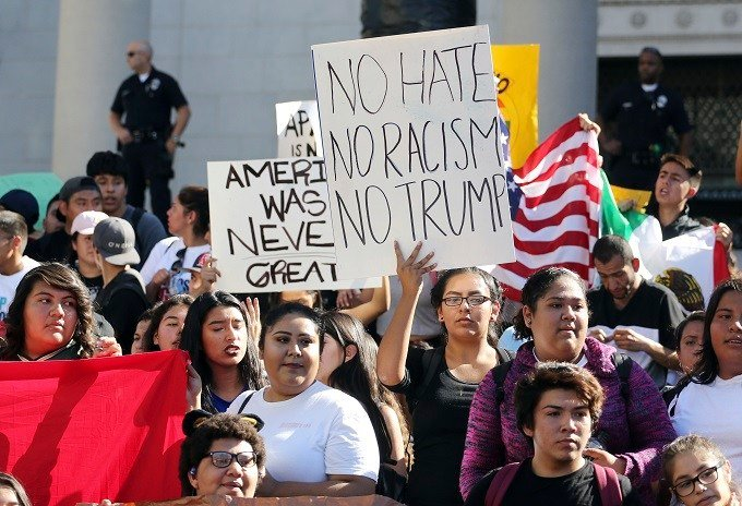 Students from several high schools rally after walking out of classes to protest the election of Donald Trump as president in downtown Los Angeles Monday, Nov. 14, 2016. More than a thousand students from several schools on Los Angeles' heavily Hispanic e