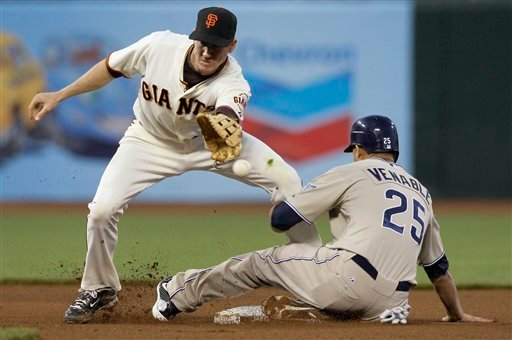 San Diego Padres' Will Venable steals second base as San Francisco Giants' Matt Downs covers in the fourth inning of a baseball game in San Francisco, Wednesday, May 12, 2010. (AP Photo/Jeff Chiu)