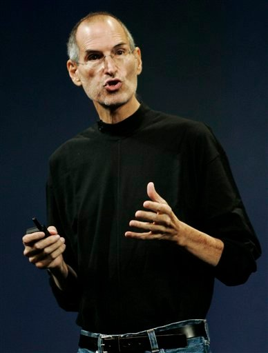 In this file photo taken, Sept. 9, 2009, Apple CEO Steve Jobs gestures during an Apple event in San Francisco.