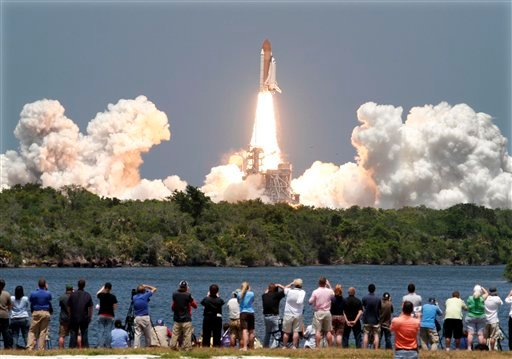 Space shuttle Atlantis lifts-off from the Kennedy Space Center at Cape Canaveral, Fla. Friday May 14, 2010. Atlantis' 12-day mission will deliver a Russian built storage and docking module to the International Space Station. (AP Photo/Marta Lavandier)