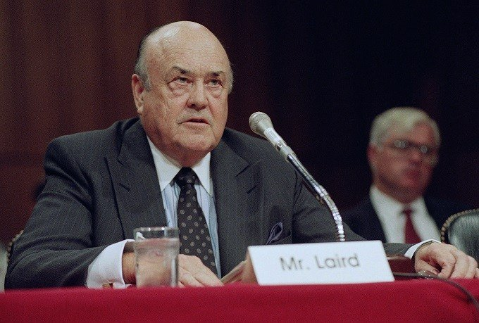 In this Sept. 1992 file photo, former Defense Secretary Melvin R. Laird testifies on Capitol Hill in Washington. Laird, Defense Secretary under Richard Nixon who helped engineer withdrawal of U.S. troops from Vietnam, has died. (AP Photo/John Duricka, Fil
