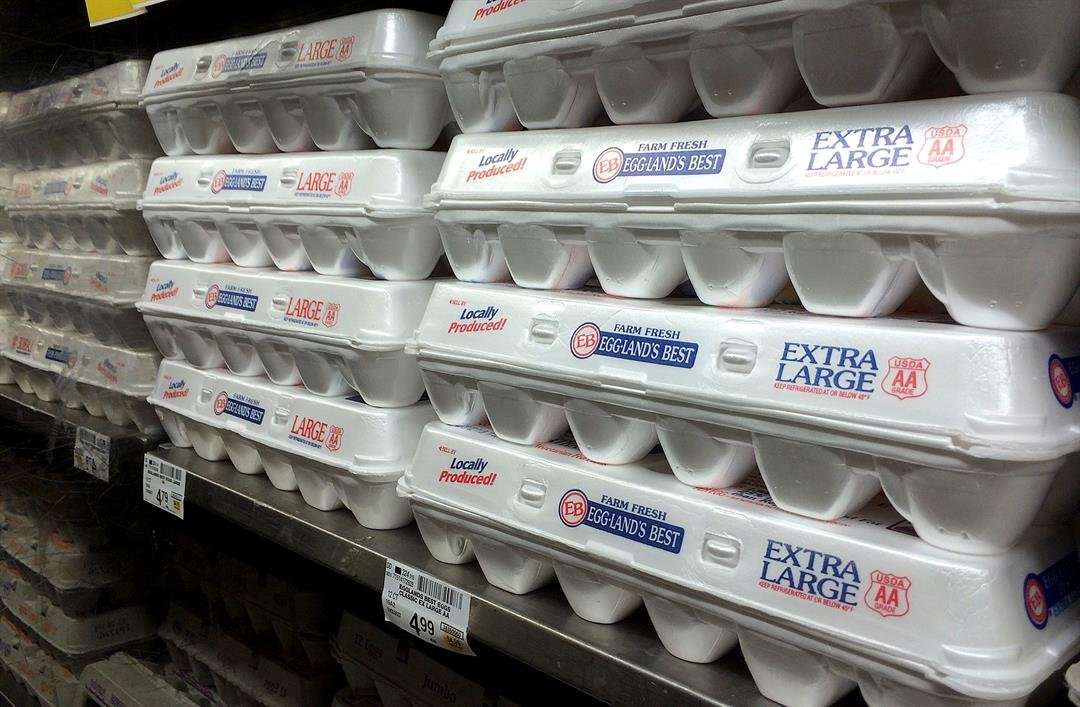 This July 6, 2016, file photo shows egg cartons displayed on a shelf at a market in San Francisco. (AP Photo/Jeff Chiu, File)
