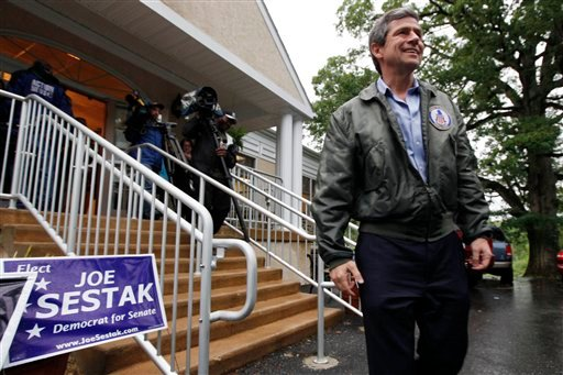 Rep. Joe Sestak, D-Pa., a candidate in the Senate Democratic primary race, is seen after casting his vote at his polling place in Gradyville, Pa., May 18, 2010. (AP Photo/Matt Rourke)