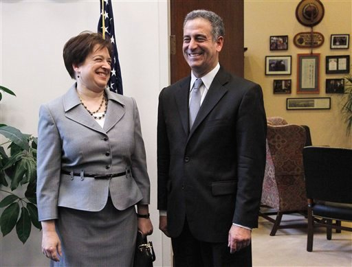 Supreme Court nominee Elena Kagan meets Sen. Russ Feingold, D-Wis., on Capitol Hill in Washington, Wednesday, May 19, 2010. (AP Photo/Manuel Balce Ceneta)