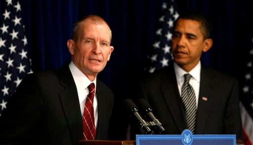 In this Jan. 9, 2009 file photo, then President-elect Barack Obama listens as National Intelligence Director designate Ret. Navy Adm. Dennis Blair speaks during a news conference in Washington, Friday, Jan. 9, 2009.(AP Photo/Charles Dharapak, File)