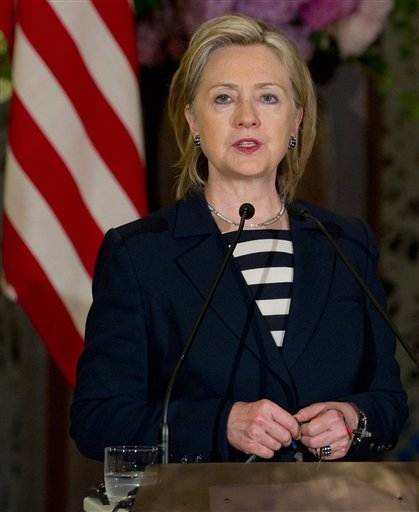 U.S. Secretary of State Hillary Rodham Clinton answers a question from the media during a joint press conference with her Japanese counterpart Katsuya Okada following their meeting at the Iikura guesthouse in Tokyo, Japan, Friday, May 21, 2010.