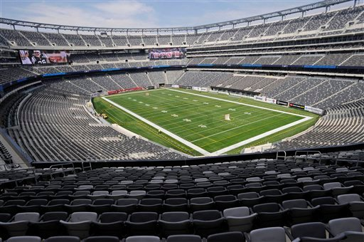 In this April 8, 2010, file photo, a view of the field of the new Meadowlands Stadium, home of the New York Giants and the New York Jets football teams is shown in East Rutherford, N.J.