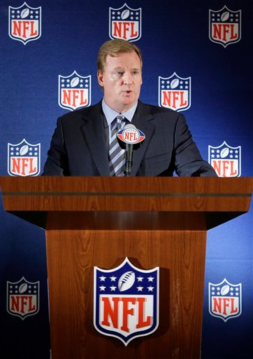 NFL commissioner Roger Goodell makes comments during a news conference at the Spring NFL meetings, Tuesday, May 25, 2010 in Irving, Texas.