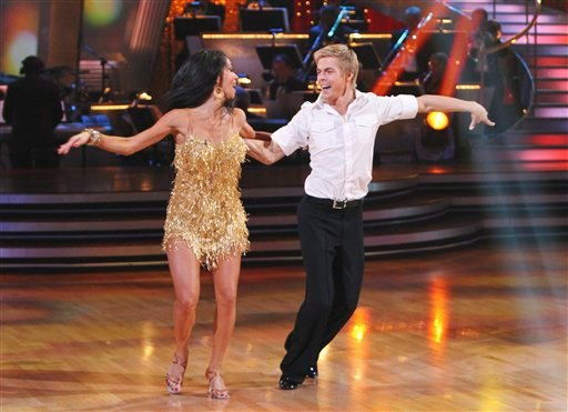 In this image provided by ABC Nicole Scherzinger and her partner Derek Hough perform the Argentine Tango Tuesday May 25, 2010.  (AP Photo/ABC/Adam Larkey)