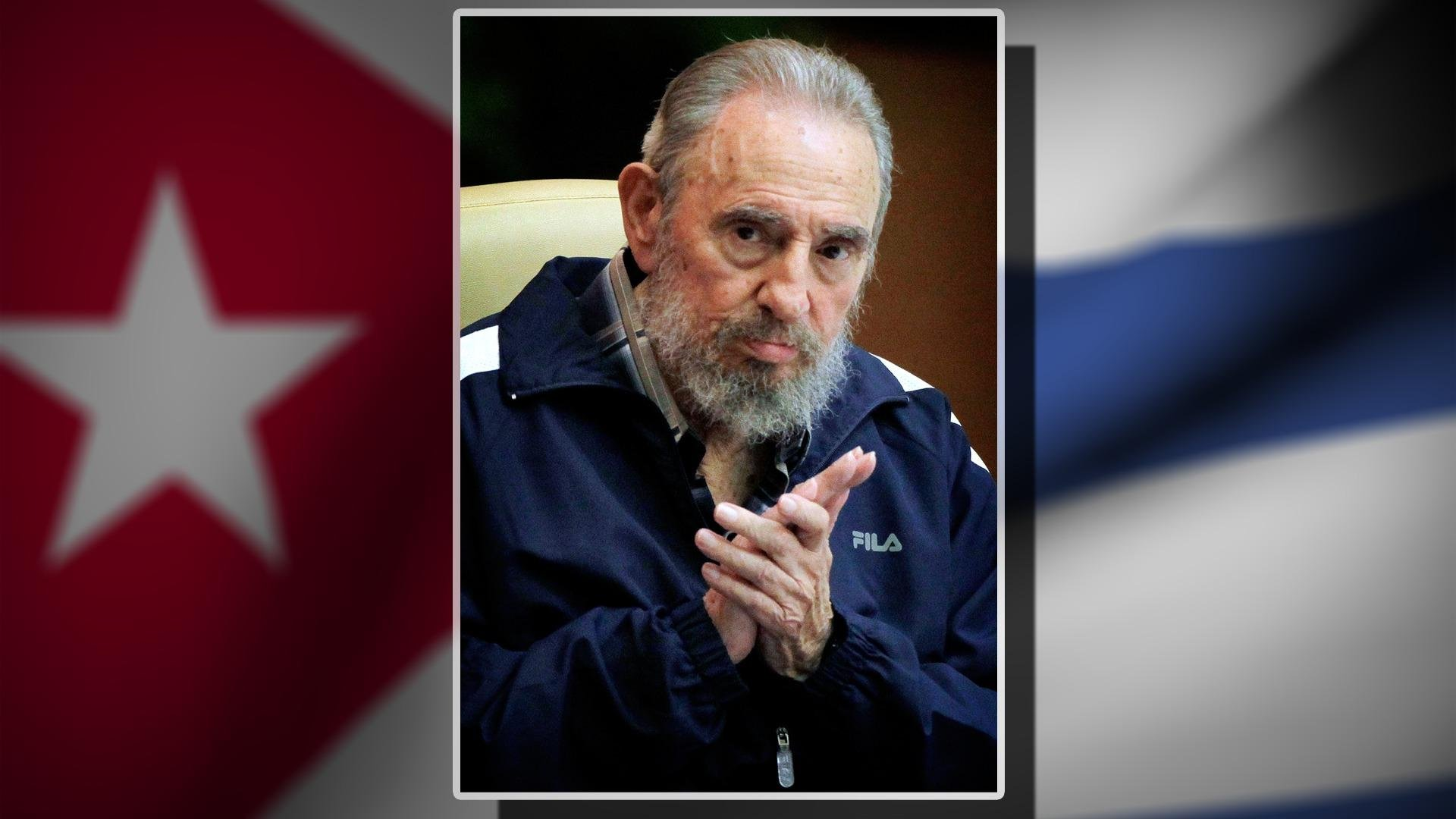 Fidel Castro headshot, former Cuba President at 6th Communist Party Congress, Havana, Cuba, on flag texture, partial graphic