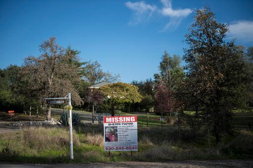 """Nov. 10, 2016 file photo: A """"missing"""" sign for Sherri Papini, 34, appears along Sunrise Drive, in Mountain Gate, Calif., near the location where the mother of two was believed to have gone missing. (Andrew Seng/The Sacramento Bee via AP,File)"""