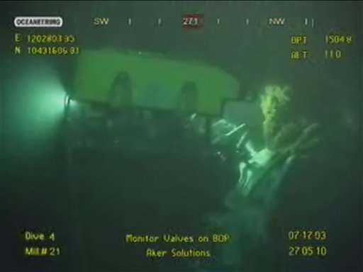 This Thursday, May 27, 2010 image made from video released by British Petroleum (BP PLC) shows equipment being used to try and plug a gushing oil well in the Gulf of Mexico.