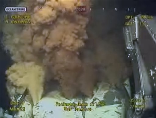 This early Thursday morning, May 27, 2010 image made from video released by British Petroleum (BP PLC) shows equipment being used to try and plug a gushing oil well in the Gulf of Mexico.