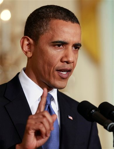 President Barack Obama makes remarks during a news conference in the East Room of the White House in Washington, Thursday May 27, 2010. (AP Photo/Alex Brandon)