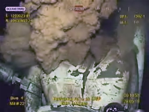 This image made from video released by British Petroleum (BP PLC) early Friday morning, May 28, 2010 shows drilling mud escaping from the broken pipe on the gushing oil well in the Gulf of Mexico.