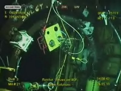This image made from video released by British Petroleum (BP PLC) shows equipment being used to try and plug a gushing oil well in the Gulf of Mexico on Wednesday, May 26, 2010.