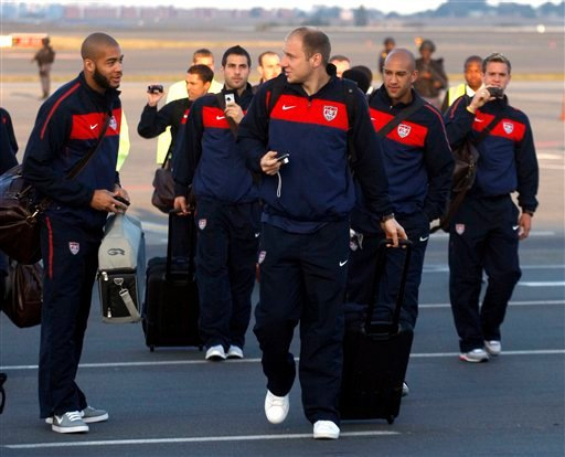 USA soccer players during their arrival at the OR Tambo International Airport in Johannesburg, Monday May 31, 2010. USA arrived for the upcoming World Cup tournament, which gets underway on June 11, 2010. (AP Photo/Themba Hadebe)