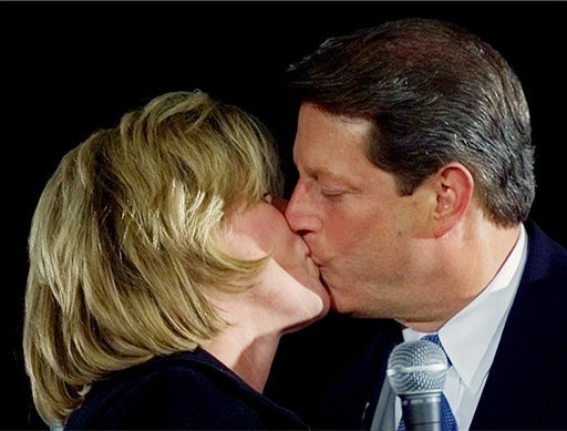 In this Nov. 5, 2000 file photo, then-Democratic presidential candidate Vice President Al Gore gets a kiss from his wife Tipper during a campaign rally at the University of Michigan in Dearborn, Mich. (AP Photo).
