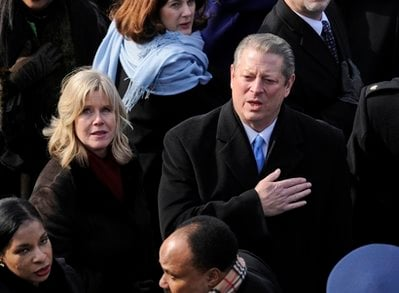 FILE - In this Jan. 20, 2009 file photo, former Vice President Al Gore and his wife Tipper, listen to the national anthem at the conclusion of inaugural ceremonies on Capitol in Washington.