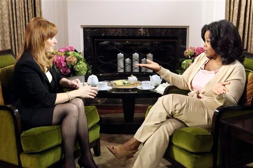 In this photo taken May 28, 2010 in Los Angeles, Sarah Furguson tells Opray Winfrey in an interview that she initially was trying to get money for a friend when she was caught on video offering access to her former husband, Prince Andrew, for $724,000.