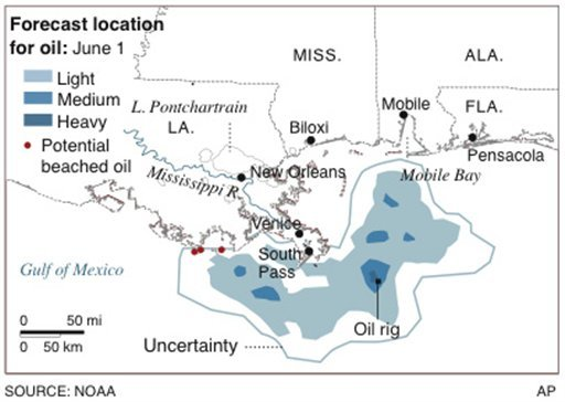 Map shows the forecast location for oil for Tuesday, June 1st, 2010.