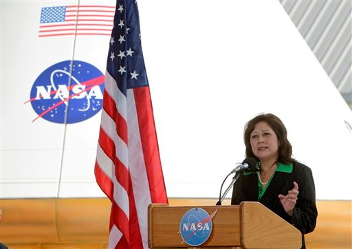 U.S. Secretary of Labor Hilda L. Solis speaks at the Kennedy Space Center in Cape Canaveral, Fla., Wednesday, June 2, 2010. Solis announced an emergency grant that will assist about 3,200 workers at the space center in finding new jobs.