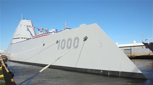 The U.S. Navy's new guided-missile destroyer Zumwalt is anchored at North Locust Point in Baltimore, Maryland, on Oct. 15, 2016, during its commissioning ceremony.
