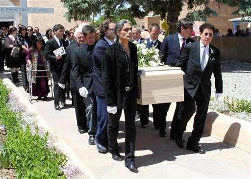 The casket of Dennis Hopper is ushered out of the San Francisco de Asis chapel in Ranchos de Taos, N.M., after a memorial service Wednesday, June 2, 2010.