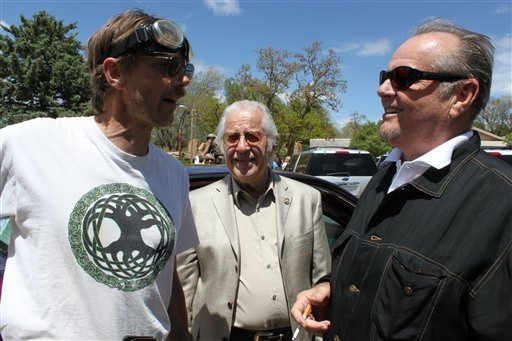 "Actor Jack Nicholson, right, talks with Taos residents about the iconic film ""Easy Rider"" after a memorial service for Dennis Hopper in Ranchos de Taos, N.M., on Wednesday, June 2, 2010."