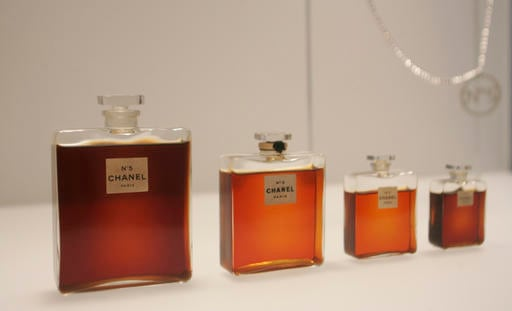 In this May 2, 2005 file photo, bottles of Chanel No. 5 perfume are displayed at the Metropolitan Museum of Art's Costume Institute exhibit in New York.