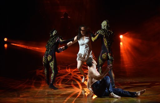 Artists performing during the premiere of 'AMALUNA' at Cirque du Soleil in Duesseldorf, Germany, 17 November 2016.