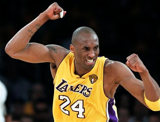 Los Angeles Lakers guard Kobe Bryant reacts against the Boston Celtics during the second half of Game 1 of the NBA basketball finals Thursday, June 3, 2010, in Los Angeles. (AP Photo/Chris Carlson)