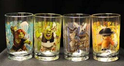 "This image provided by the U.S. Consumer Product Safety Commission shows ""Shrek Forever After 3D"" Collectable Drinking Glasses being promoted by McDonald's Corp that are being recalled because the designs on the glasses contain cadmium. (AP Photo)"